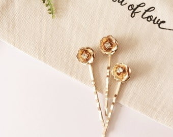 Set of 3 Gold Flower Bobby Pins Small #174