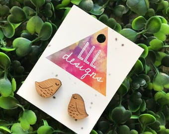 Bird Earrings. Super Cute Sleepy Birdie Laser Cut Bamboo Stud Earrings. Quirky and Fun Handmade Earrings. Live the Life you Love :)