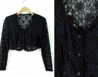 80s Sheer Lace Cropped Long Sleeve Shirt Gray Clear Faceted Buttons Size Small Medium