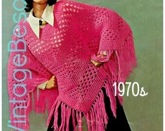 INSTANT DOWNlOAD • PdF Pattern • PONCHO Crochet PATTERN • Vintage 1970s • Crochet PdF Digital Pattern