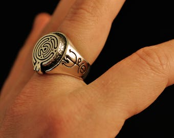 Into Hekate's labyrinth ring, 925 sterling silver, goddess, greek, Hecate, witch, high priestess, priest, sigil, witchcraft, wicca, lost wax