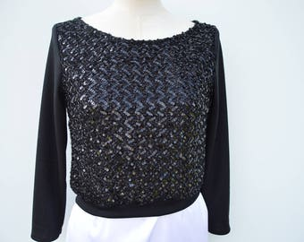 Clearance 30% Top black sequin top rebroder black long sleeve top