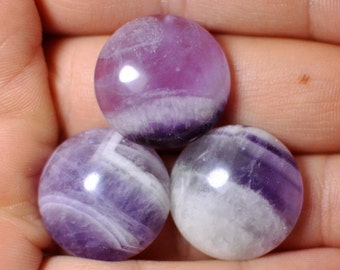 100 % Natural Amethyst Round shape cabochon Gem. Striped purple white Amethyst stone. 20x7 mm. Lot af 3 pcs.