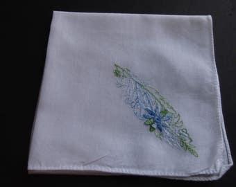 White Hankie Vintage Blue Floral Design Handmade Collectible 1960's Retro Style Estate Sale Shabby Chic