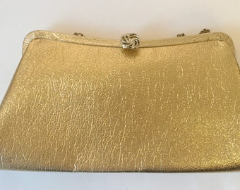1950's Hollywood Regency Shiny Gold Lame Evening Clutch with Gold Hardware and Optional Chain