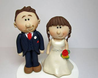 Wedding cake topper, Personalised bride and groom Cake topper, custom wedding, novelty bride and groom, wedding cake figurines