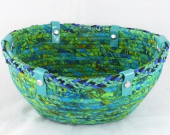 Green Turquoise Coiled Fabric Basket