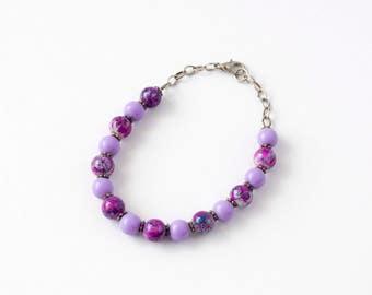 Purple Paint Splatter design beaded bracelet