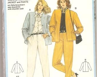 1980's Burda 7474 Pattern 2 pieces suit Jacket Pants Women clothing Retro Vintage Size 8 10 12 14 16 18 Uncut