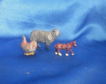3 Vintage Lead Farm Animals, Sheep, Chicken and a Horse