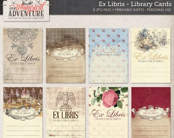 Bookplates, books reading library digital scrapbooking elements, digital download, ex libris cards, printable collage sheet journal cards