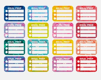 16 half box meal plan stickers, food stickers, dinner prep stickers, planner stickers, organizer stickers, lunch stickers checklist