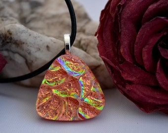 fused glass dichroic pendant, red, gold, triangle, handmade, kiln fired