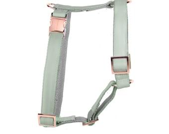 Designer dog harness MINT - designer harness with rose gold hardware - copper - matching leash available