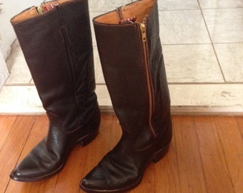Sale:  vintage brown leather cowboy boots