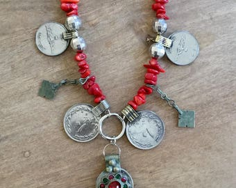 Boho necklace / necklace / tribal fusion / coral / red / red necklace / boho chic / alchemy / Alchemy collection / silver / silver / kuchi / ethnic