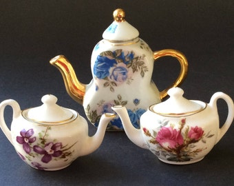 Miniature Teapot Collection/ Hammersley Bone China/ Made in England