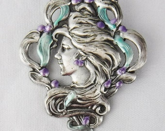 Free Shipping/Art Nouveau Pewter Brooch/Pewter Pin/Vintage/Lady/Silver Brooch/Pewter Jewelry/Silver Jewelry/Painted Brooch