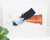 Abstract Painting, Acrylic Painting on paper, Blue Orange white art/5x7/Abstract Wall Art/palette knife art/office art/modern art/