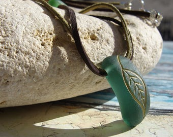 Teal Seaglass Necklace Beach Jewelry Leaf Necklace Sea Glass Jewelry Beach Wedding Mermaid Jewelry Faux Leather Necklace