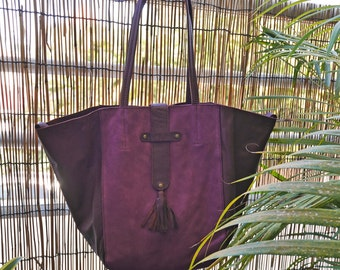 MARINA purse in leather and plum suede