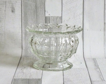 Vintage 1930s Glass Footed Bowl with Shaped Rim