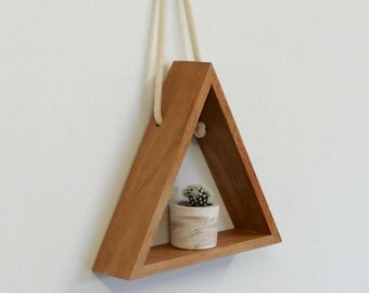 Triangle Wooden Shelf // Hanging Rope // Maple