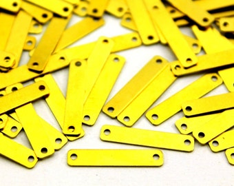 100 pcs 4x20 mm Raw Brass Rectangle Charms