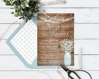 Printable Mason Jar Bridal Shower Invitation, Rustic Wedding Shower, Summer Country Bridal Shower Invite, Blue Baby's Breath DIY
