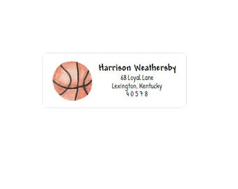 Return Address Label - Address Sticker - Basketball - Personalized - Custom - Family