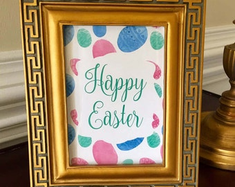 Happy Easter Art Print - Easter Eggs - Easter Brunch Decor - Party - Easter Egg Hunt Sign - Blue, Pink and Green - 5x7 or 8x10