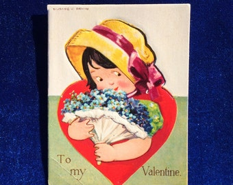1920's Flower Girl Valentine German Embossed High Quality Antique Card