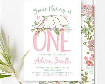 Some Bunny Birthday Invitation Girl First Birthday Bunny Invitation Easter Birthday Party Invite Spring 1st Birthday Pink And Mint PRINTABLE