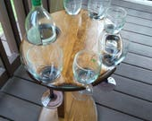 Wine Table for Serving Wine - Holds Six wine glasses and a Magnum sized wine bottle. With Custom Engraving