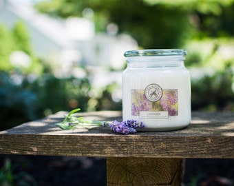 Lavender Scented Soy Candle, 16 oz//2 Wick Candle//Apothecary Candle//Container Candle