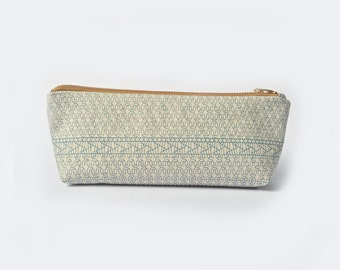 Pencil Case • Pencil Pouch, Canvas Zipper Pouch, Macrame Prints, Japanese, Holiday Gifts, Blue on White, Back to School,