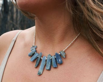 One of a Kind Raw Kyanite Pieces Necklace with Thai Hill Tribe Silver Beads and Clasp