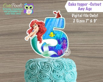 The Little Mermaid Personalized Age and Name Cake Topper