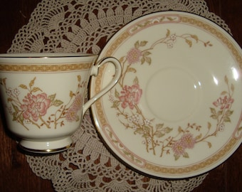 "Royal Doulton - Romance Collection ""Lisette""  Vintage Tea Cup and Saucer - Fine Bone China - Pink and Brown Floral and Band"