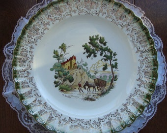 American Limoges - Chateau France - Mandarin Green - Cabinet / Dinner Plate - Made in USA - Warranted 22K Gold