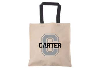 Personalized Name and Initial Tote Bag, Durable Reusable Tote, Heavy Duty Cotton Tote,