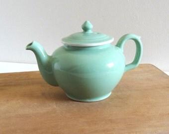 Vintage 1950s Almond Green Teapot - Mid Century Eartheware Teapot