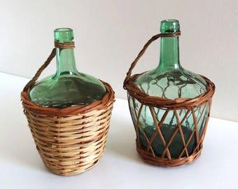 2 Vintage Light Green Glass and Wicker Demijohns - Mid Century Wine Bottles