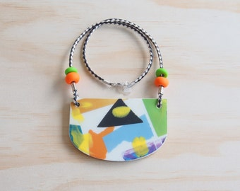 Resin Necklace | Wearable Art | Handmade | 80's Bright Collage