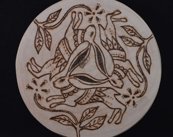 Found Wood Three Hares image with pyrography design