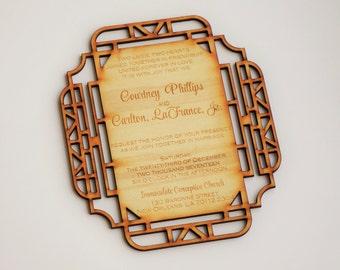 Wooden invitation Wedding invitation laser cut wedding  invitations engraved wedding invitation Laser cut wedding invitation