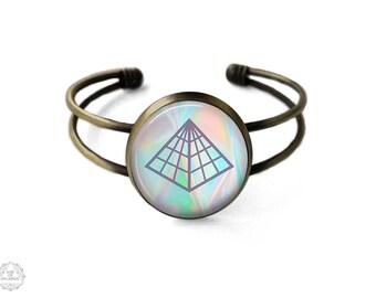 Mystic Pyramid Cuff Bracelet   Triangle Bracelet, Bangle, Freemason, Grunge Jewelry, Boho Jewelry, Seapunk, Occult Jewelry, Masonic
