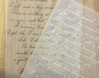 Custom Hand-Written Calligraphy Love Letter_Wedding Vows_Song Lyrics