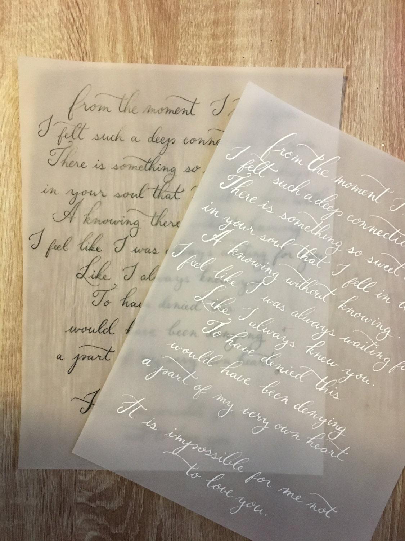 Custom hand written calligraphy love letter wedding vows song for Love letter wedding ceremony
