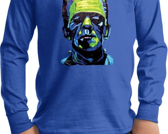Kid's Frankenstein Face Long Sleeve Tee T-Shirt 20719NBT2-PC61YLS